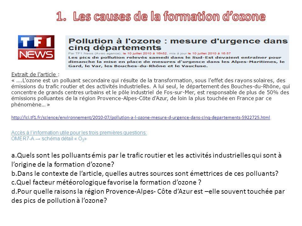 Extrait de larticle : « ….L'ozone est un polluant secondaire qui résulte de la transformation, sous l'effet des rayons solaires, des émissions du traf