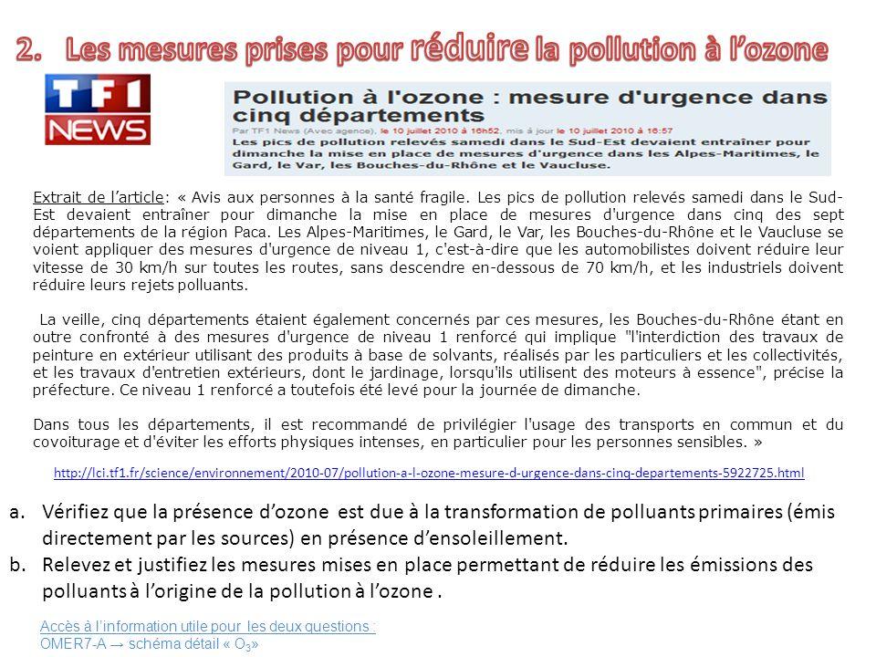 Extrait de larticle: « Avis aux personnes à la santé fragile. Les pics de pollution relevés samedi dans le Sud- Est devaient entraîner pour dimanche l