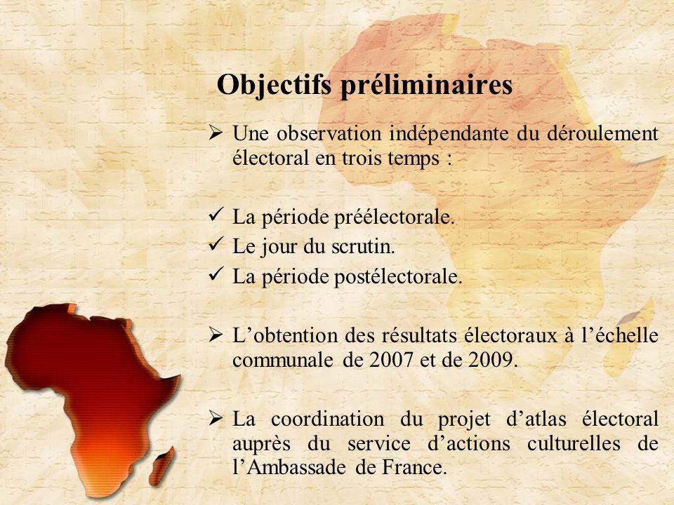 Objectifs préliminaires Une observation indépendante du déroulement électoral en trois temps : La période préélectorale.
