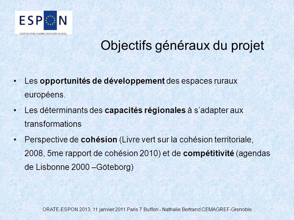 ORATE-ESPON 2013, 11 janvier 2011 Paris 7 Buffon - Nathalie Bertrand CEMAGREF-Grenoble Objectifs généraux du projet Les opportunités de développement