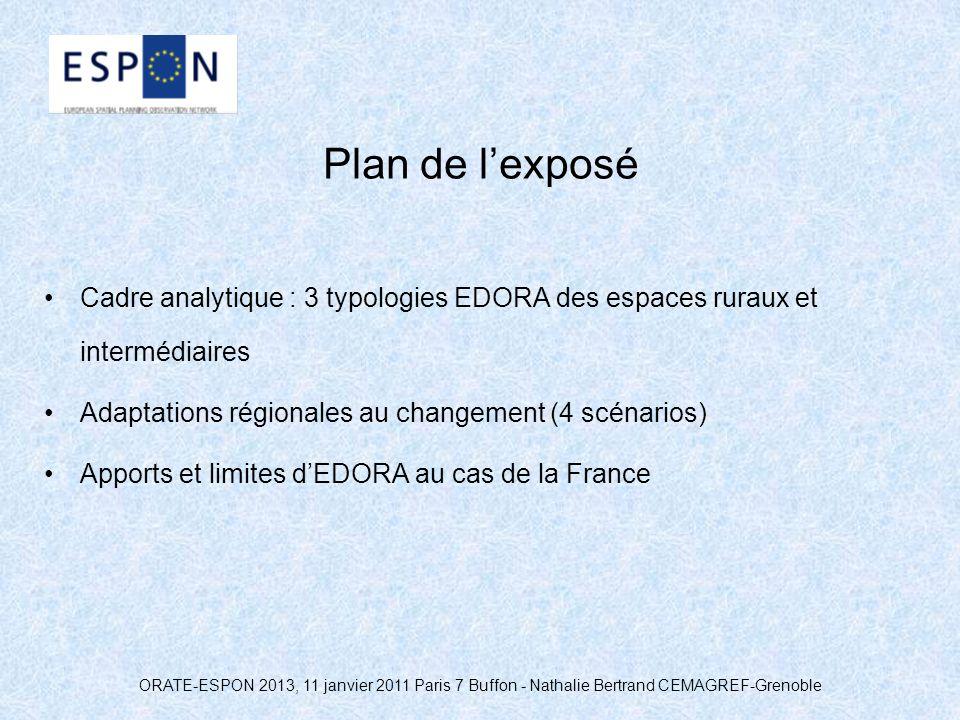 ORATE-ESPON 2013, 11 janvier 2011 Paris 7 Buffon - Nathalie Bertrand CEMAGREF-Grenoble Plan de lexposé Cadre analytique : 3 typologies EDORA des espac