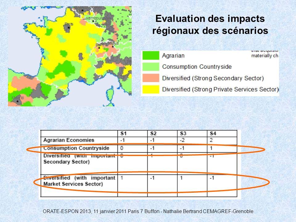 ORATE-ESPON 2013, 11 janvier 2011 Paris 7 Buffon - Nathalie Bertrand CEMAGREF-Grenoble Evaluation des impacts régionaux des scénarios