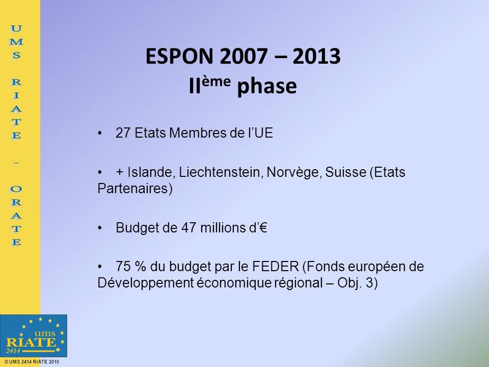 © UMS 2414 RIATE 2010 ESPON 2007 – 2013 II ème phase 27 Etats Membres de lUE + Islande, Liechtenstein, Norvège, Suisse (Etats Partenaires) Budget de 47 millions d 75 % du budget par le FEDER (Fonds européen de Développement économique régional – Obj.