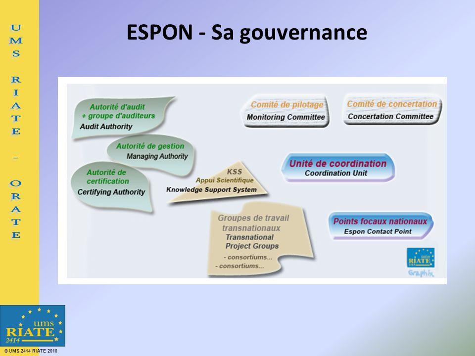 © UMS 2414 RIATE 2010 ESPON - Sa gouvernance