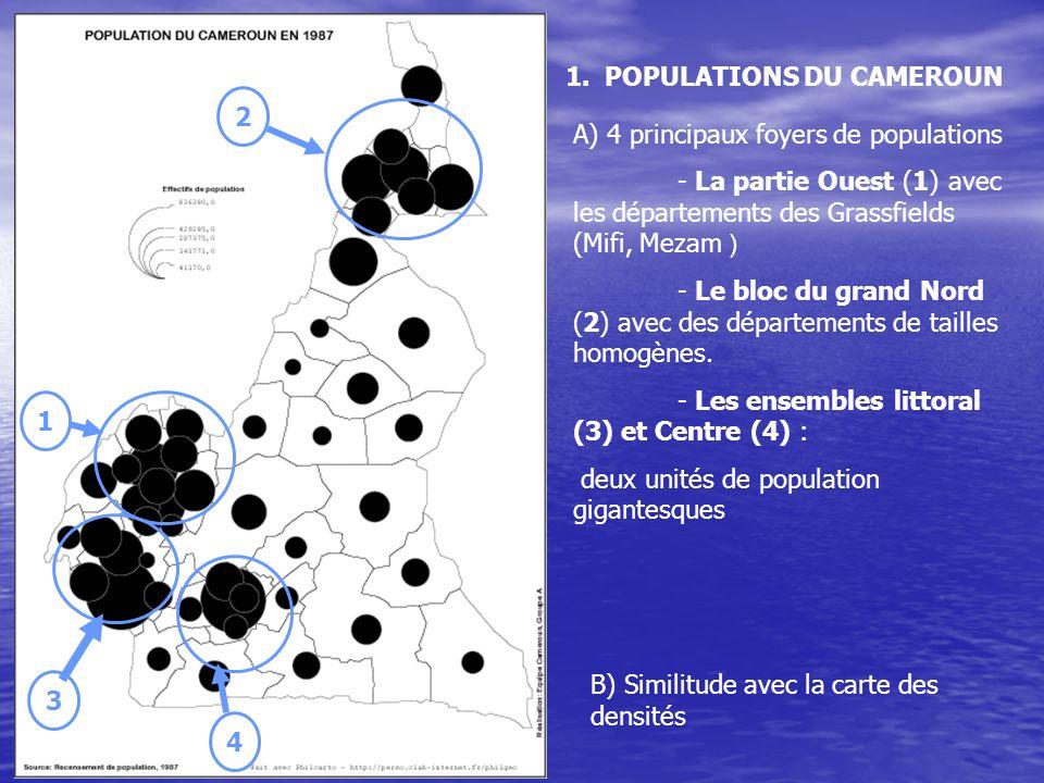 1.POPULATIONS DU CAMEROUN A) 4 principaux foyers de populations - La partie Ouest (1) avec les départements des Grassfields (Mifi, Mezam ) - Le bloc du grand Nord (2) avec des départements de tailles homogènes.