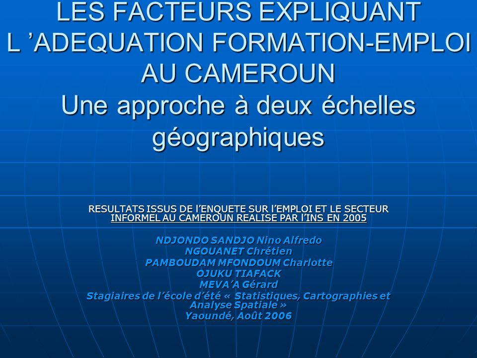 LES FACTEURS EXPLIQUANT L ADEQUATION FORMATION-EMPLOI AU CAMEROUN Une approche à deux échelles géographiques RESULTATS ISSUS DE lENQUETE SUR lEMPLOI ET LE SECTEUR INFORMEL AU CAMEROUN REALISE PAR lINS EN 2005 NDJONDO SANDJO Nino Alfredo NGOUANET Chrétien PAMBOUDAM MFONDOUM Charlotte OJUKU TIAFACK MEVAA Gérard Stagiaires de lécole dété « Statistiques, Cartographies et Analyse Spatiale » Yaoundé, Août 2006