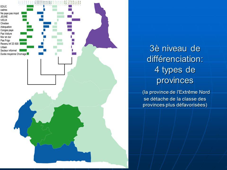 3è niveau de différenciation: 4 types de provinces (la province de l'Extrême Nord se détache de la classe des provinces plus défavorisées)