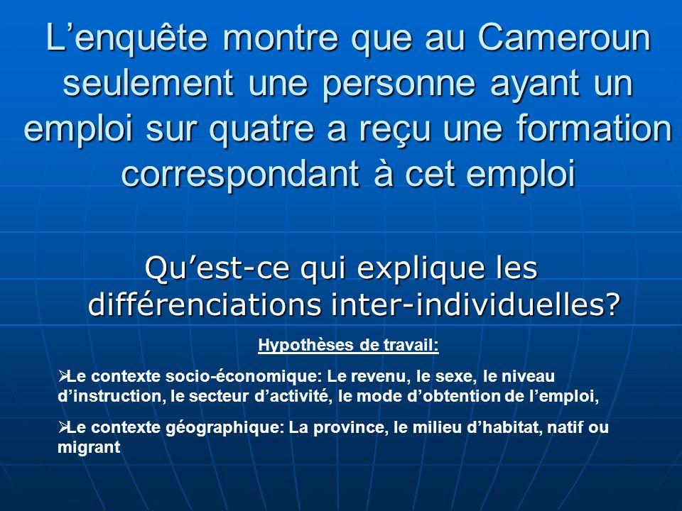 Lenquête montre que au Cameroun seulement une personne ayant un emploi sur quatre a reçu une formation correspondant à cet emploi Quest-ce qui expliqu