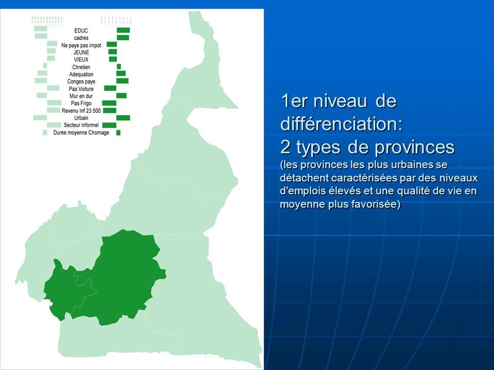 1er niveau de différenciation: 2 types de provinces (les provinces les plus urbaines se détachent caractérisées par des niveaux d'emplois élevés et un