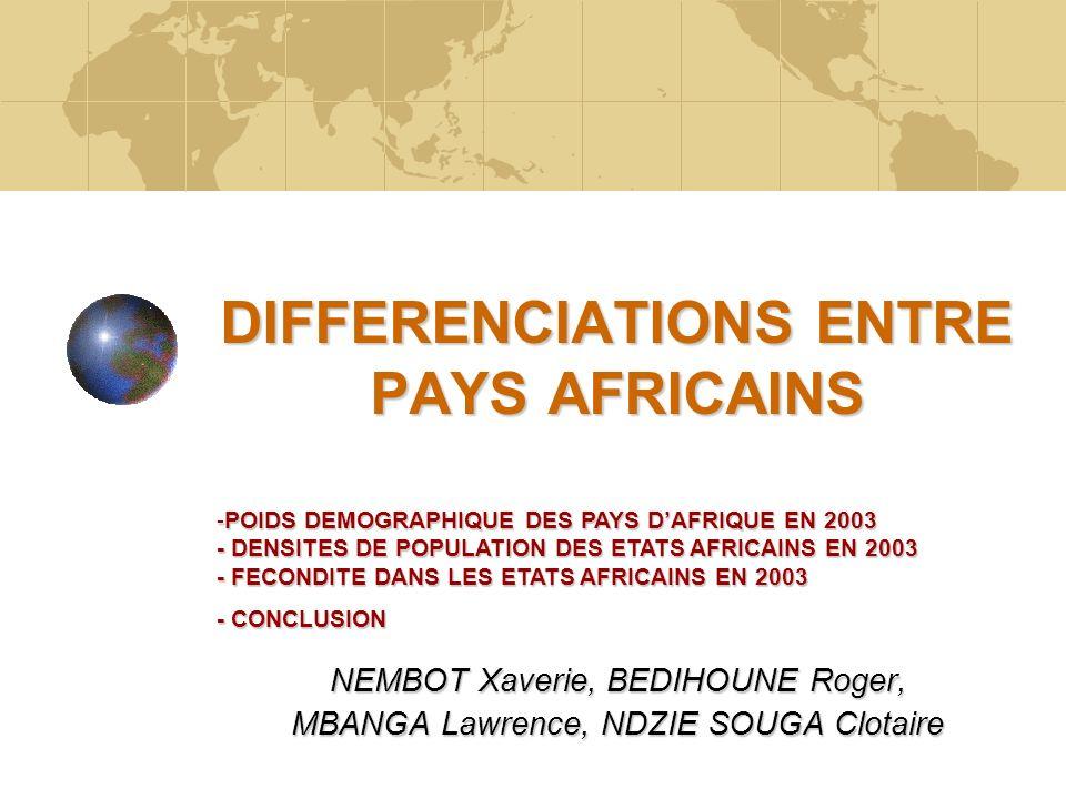 DIFFERENCIATIONS ENTRE PAYS AFRICAINS NEMBOT Xaverie, BEDIHOUNE Roger, MBANGA Lawrence, NDZIE SOUGA Clotaire -POIDS DEMOGRAPHIQUE DES PAYS DAFRIQUE EN