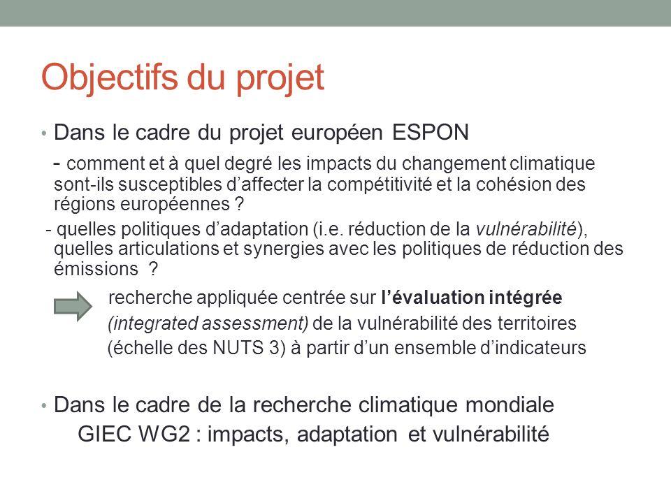 Objectifs du projet Dans le cadre du projet européen ESPON - comment et à quel degré les impacts du changement climatique sont-ils susceptibles daffec