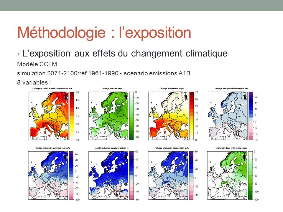 Méthodologie : lexposition Lexposition aux effets du changement climatique Modèle CCLM simulation 2071-2100/réf 1961-1990 - scénario émissions A1B 8 variables :