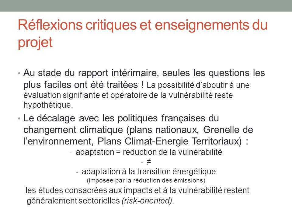 Réflexions critiques et enseignements du projet Au stade du rapport intérimaire, seules les questions les plus faciles ont été traitées ! La possibili