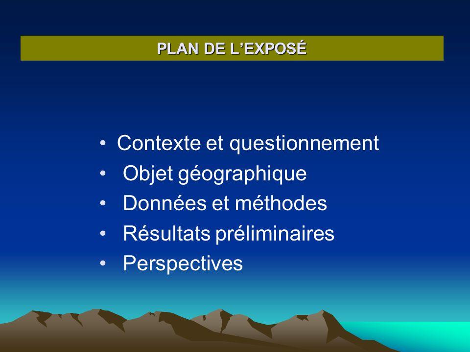 PLAN DE LEXPOSÉ Contexte et questionnement Objet géographique Données et méthodes Résultats préliminaires Perspectives
