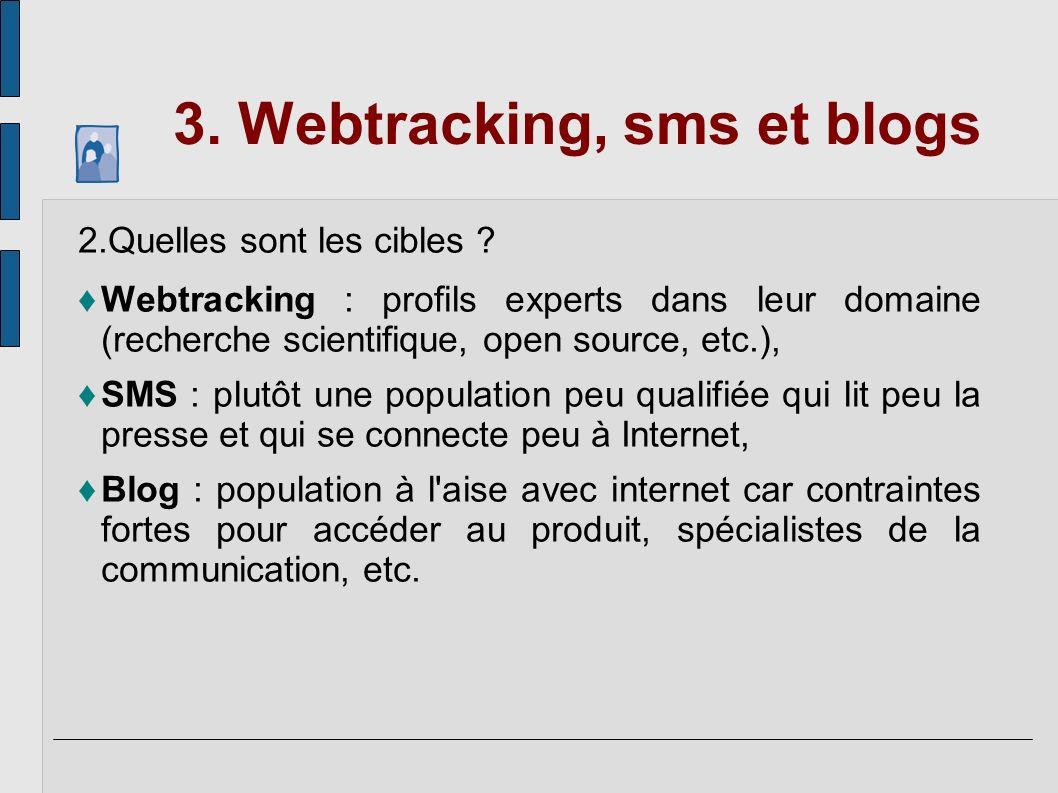 3. Webtracking, sms et blogs 2.Quelles sont les cibles ? Webtracking : profils experts dans leur domaine (recherche scientifique, open source, etc.),