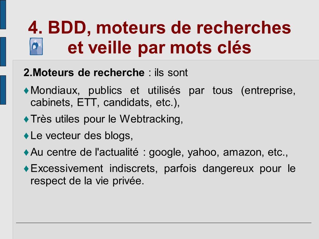 4. BDD, moteurs de recherches et veille par mots clés 2.Moteurs de recherche : ils sont Mondiaux, publics et utilisés par tous (entreprise, cabinets,