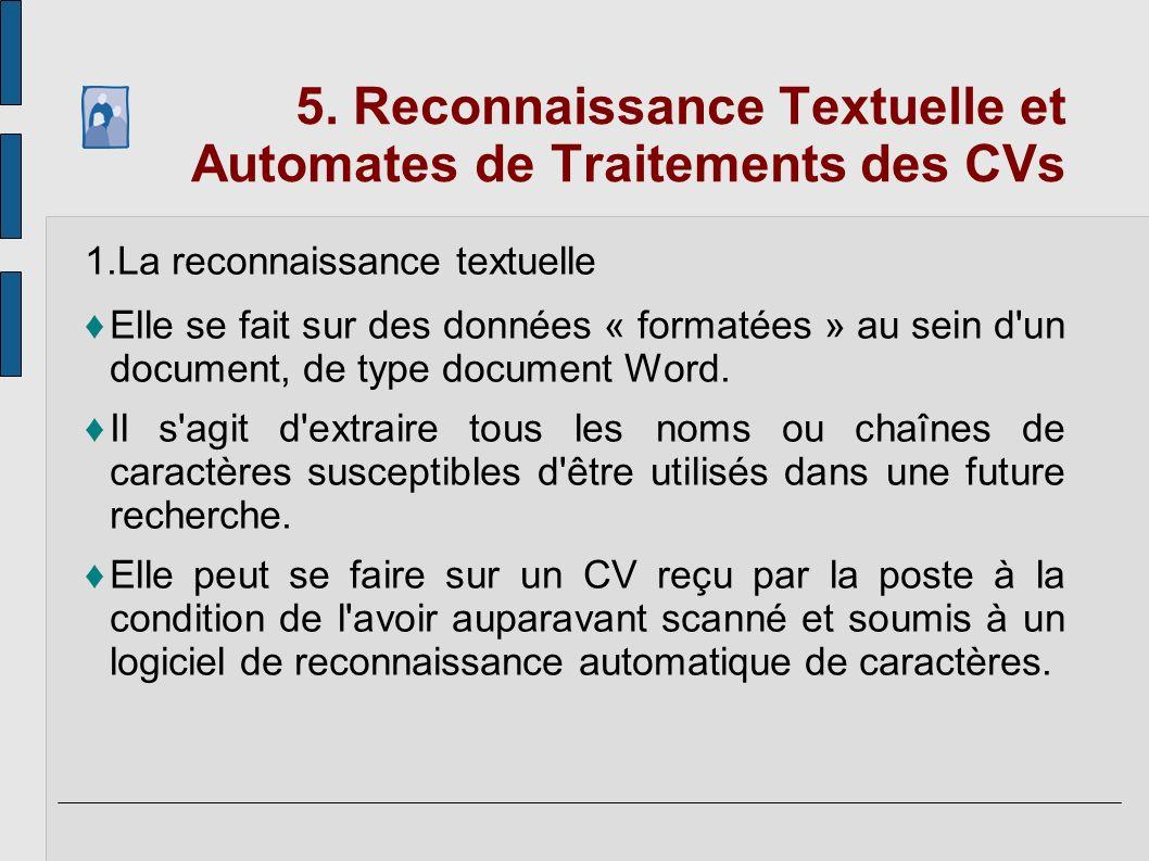 5. Reconnaissance Textuelle et Automates de Traitements des CVs 1.La reconnaissance textuelle Elle se fait sur des données « formatées » au sein d'un
