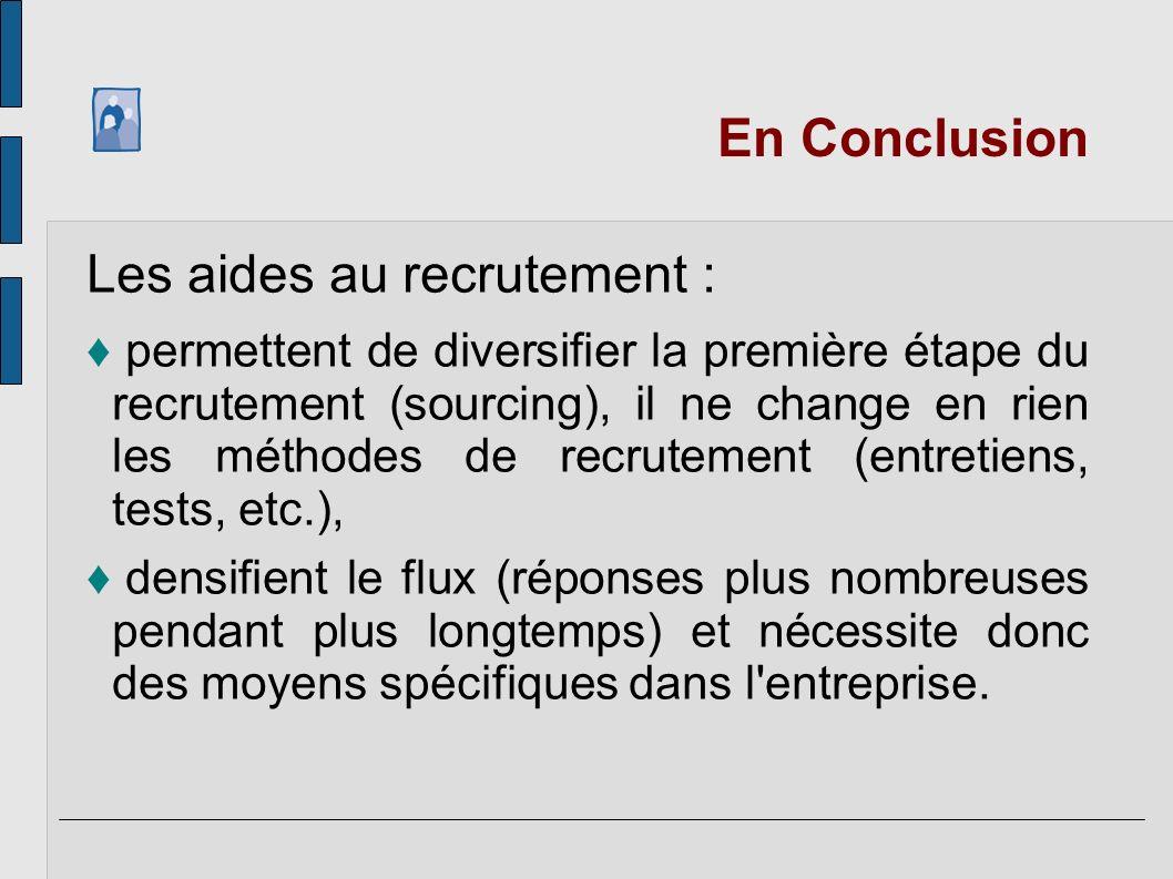En Conclusion Les aides au recrutement : permettent de diversifier la première étape du recrutement (sourcing), il ne change en rien les méthodes de r