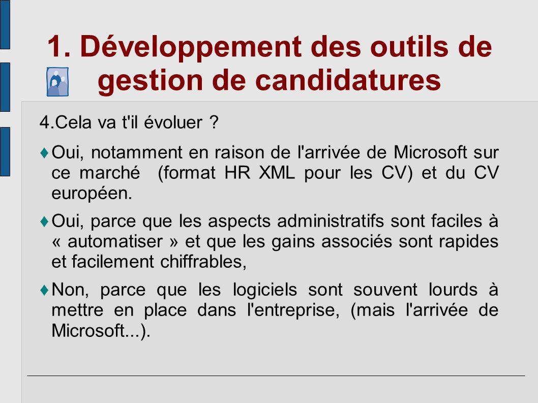 1. Développement des outils de gestion de candidatures 4.Cela va t'il évoluer ? Oui, notamment en raison de l'arrivée de Microsoft sur ce marché (form