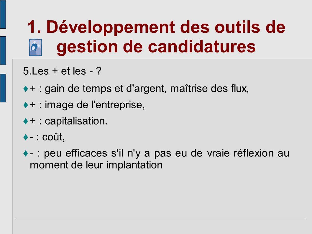 1. Développement des outils de gestion de candidatures 5.Les + et les - ? + : gain de temps et d'argent, maîtrise des flux, + : image de l'entreprise,