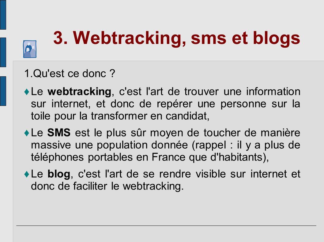3. Webtracking, sms et blogs 1.Qu'est ce donc ? Le webtracking, c'est l'art de trouver une information sur internet, et donc de repérer une personne s