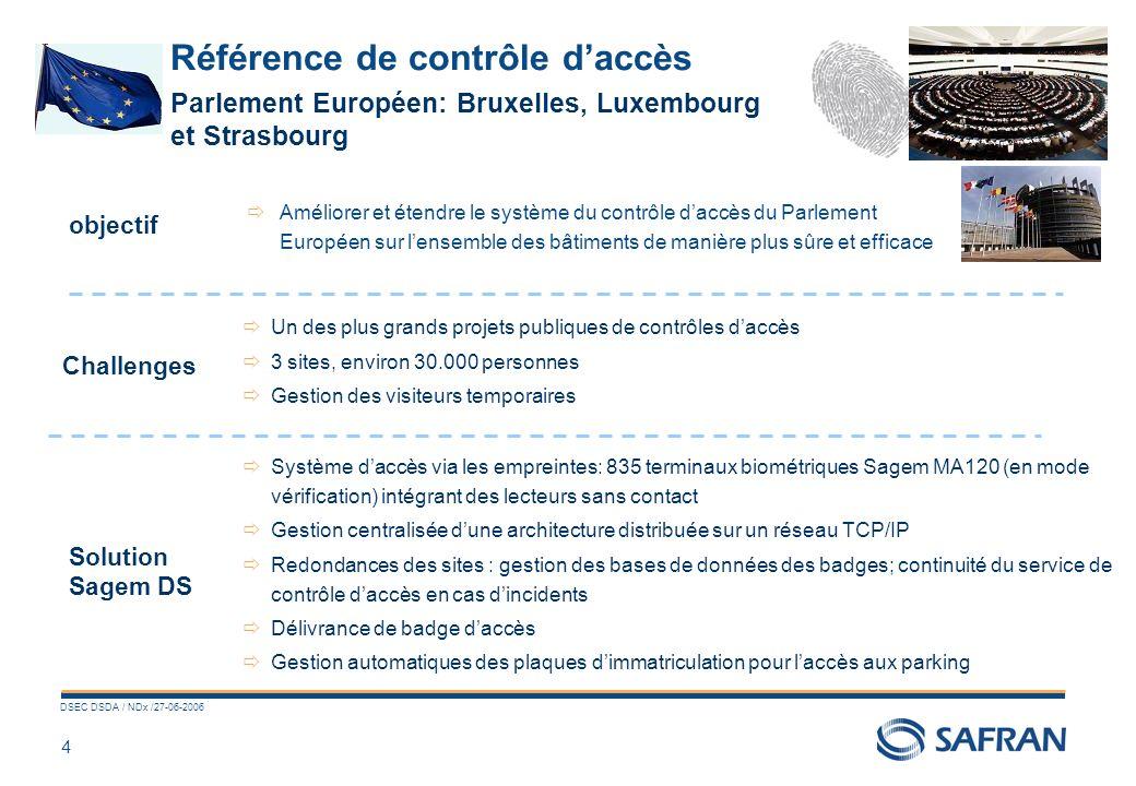 4 DSEC DSDA / NDx /27-06-2006 Référence de contrôle daccès Améliorer et étendre le système du contrôle daccès du Parlement Européen sur lensemble des bâtiments de manière plus sûre et efficace Challenges Solution Sagem DS objectif Un des plus grands projets publiques de contrôles daccès 3 sites, environ 30.000 personnes Gestion des visiteurs temporaires Système daccès via les empreintes: 835 terminaux biométriques Sagem MA120 (en mode vérification) intégrant des lecteurs sans contact Gestion centralisée dune architecture distribuée sur un réseau TCP/IP Redondances des sites : gestion des bases de données des badges; continuité du service de contrôle daccès en cas dincidents Délivrance de badge daccès Gestion automatiques des plaques dimmatriculation pour laccès aux parking Parlement Européen: Bruxelles, Luxembourg et Strasbourg