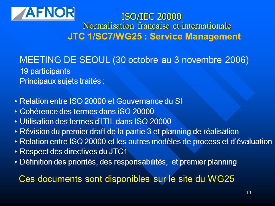 11 ISO/IEC 20000 JTC 1/SC7/WG25 : Service Management Normalisation française et internationale MEETING DE SEOUL (30 octobre au 3 novembre 2006) 19 par