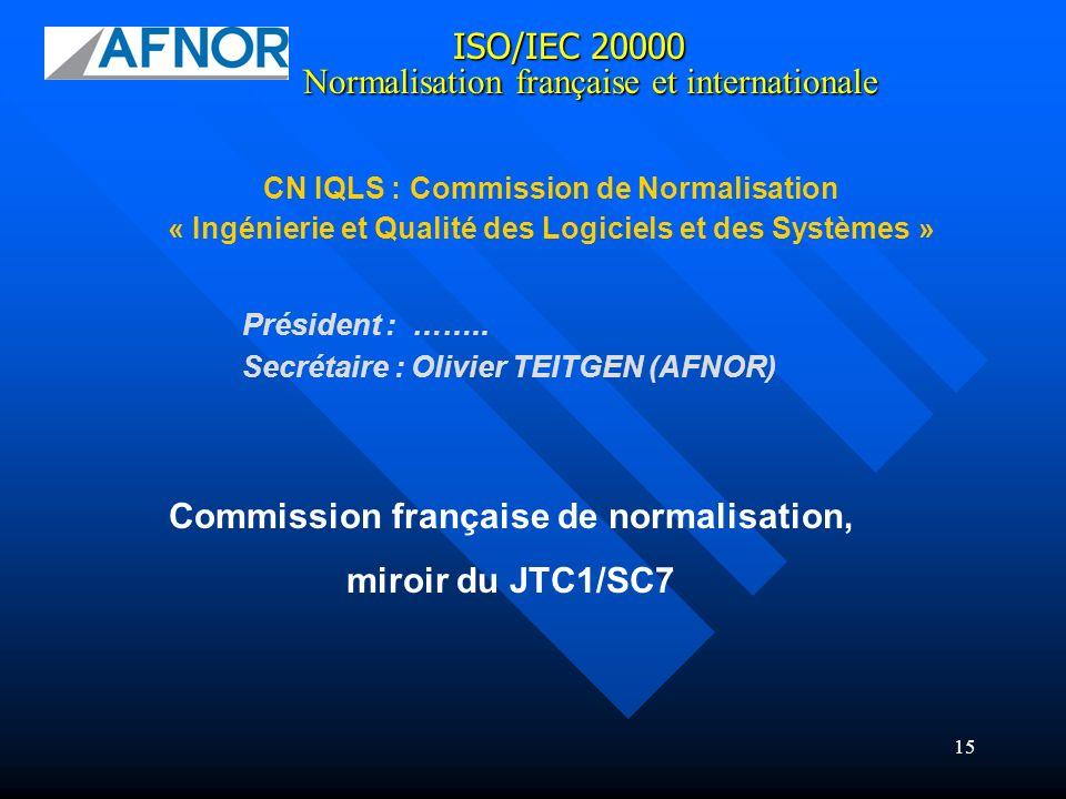 15 ISO/IEC 20000 CN IQLS : Commission de Normalisation « Ingénierie et Qualité des Logiciels et des Systèmes » Normalisation française et internationa