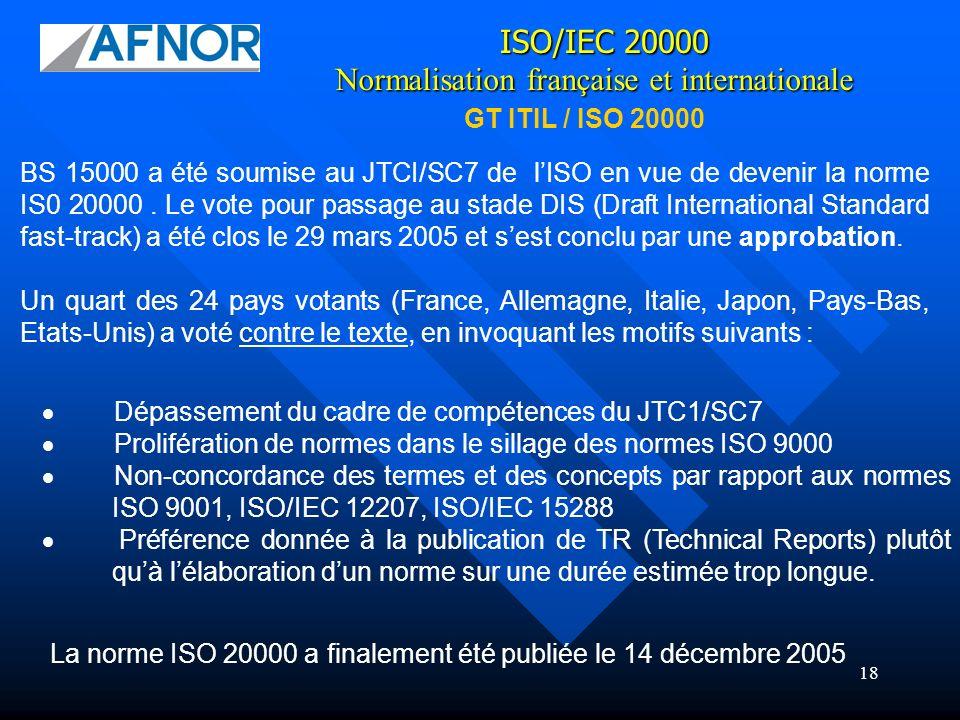18 BS 15000 a été soumise au JTCI/SC7 de lISO en vue de devenir la norme IS0 20000. Le vote pour passage au stade DIS (Draft International Standard fa