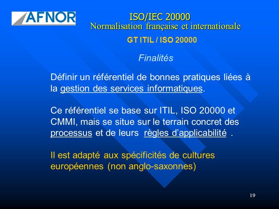 19 Finalités Définir un référentiel de bonnes pratiques liées à la gestion des services informatiques. Ce référentiel se base sur ITIL, ISO 20000 et C