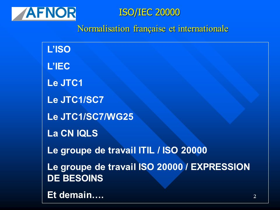 23 GT ISO 20000 / EXPRESSION DE BESOIN Normalisation française et internationale ISO/IEC 20000 Ordre du jour de la réunion de Moscou ITIL v3 changes discussed Impact on the alignment between ITIL and ISO/IEC 20000 discussed ISO/IEC 20000-1 Comments on informal draft of Edition 2 Proposals for changes discussed Changes / actions agreed ISO/IEC 20000-2 Impact of changes to Part 1 discussed Proposals for changes discussed Changes / actions agreed Harmonization of SC7 standards discussed and actions agreed Mapping of ISO/IEC 20000 to other methods and frameworks Interim meeting arrangements for Autumn 2007 (Montreal) ISO/IEC 20000-3 comments discussed and changes / actions agreed