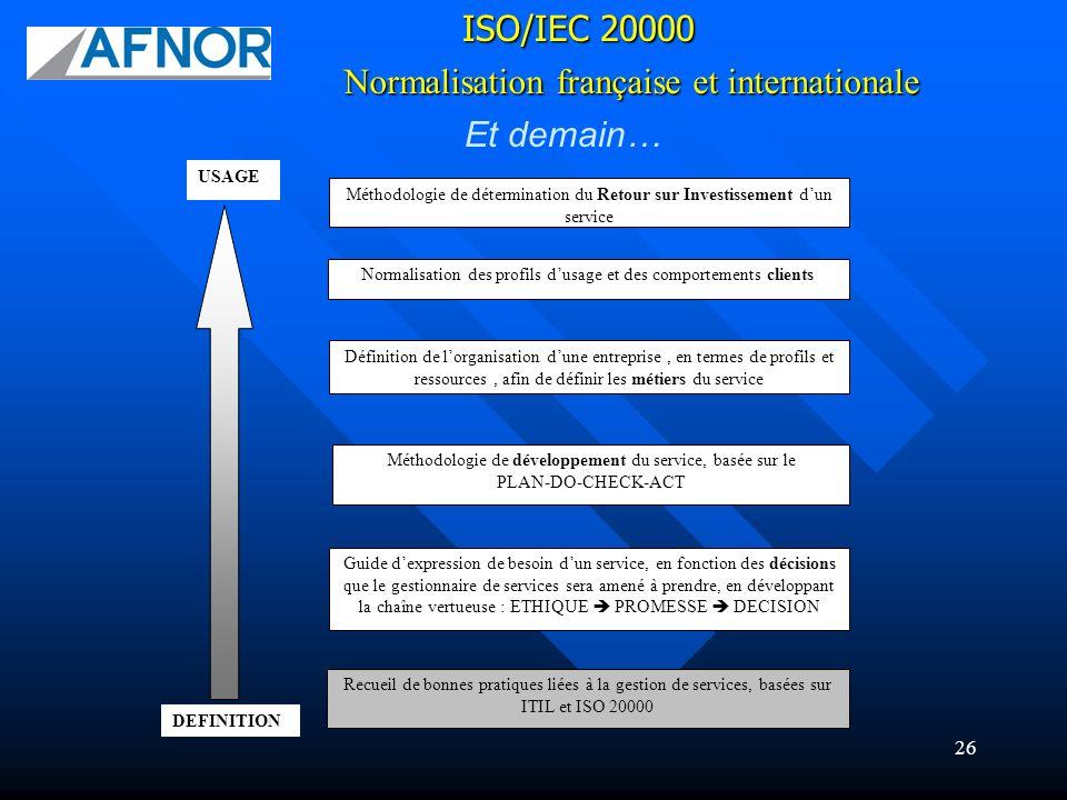 26 Et demain… Normalisation française et internationale ISO/IEC 20000 DEFINITION USAGE Recueil de bonnes pratiques liées à la gestion de services, bas