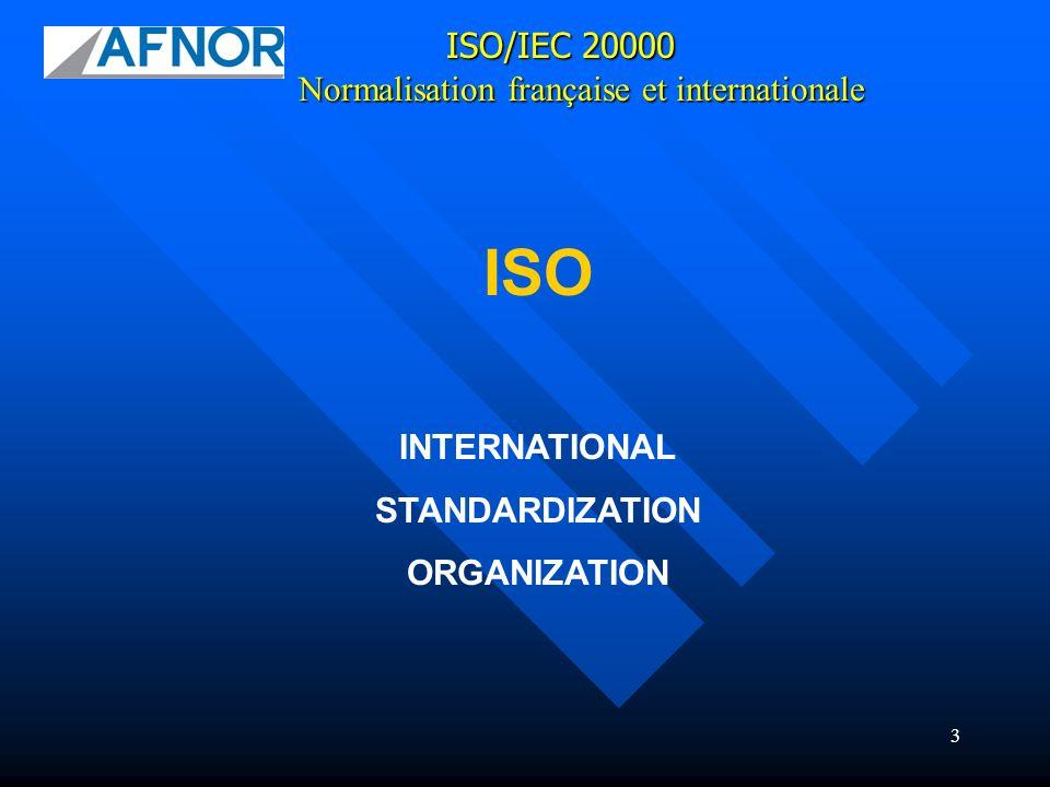 14 ISO/IEC 20000 JTC 1/SC7/WG25 : Service Management Normalisation française et internationale MEETING DE SEOUL (30 octobre au 3 novembre 2007) Principales décisions prises : Rechercher la concordance entre ISO 20000 et les normes SQUARE Les meilleures pratiques et la gestion du changement seront intégrées Liaison avec IAF (Iinternational Accreditation Forum) Fournir les premiers drafts des parties 1, 2 et 3 Évaluer les impacts des différences entre ITIL v2 et ITIL v3 Se familiariser avec ISO 12207, ISO 15288, ISO 15504 Se familiariser avec les directives du JTC 1 Améliorer la correspondance entre les termes dISO 9000 et ISO 20000