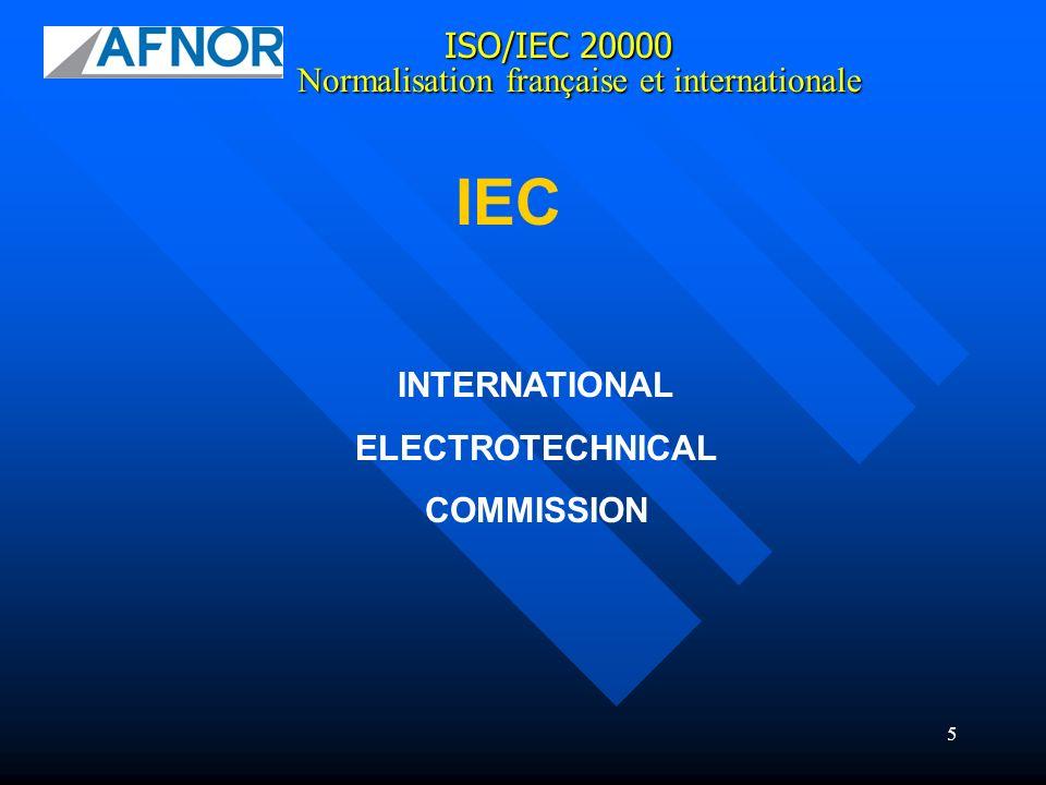 16 ISO/IEC 20000 CN IQLS : Commission de Normalisation « Ingénierie et Qualité des Logiciels et des Systèmes » Normalisation française et internationale 3 groupes dexperts : GT ITIL / ISO 20000 GT ISO 20000 / EXPRESSION DE BESOIN GT BPM/SOA GT CONTRAT INFORMATIQUE GE PRODUIT GE PROCESSUS GE MODELISATION 4 groupes de travail :