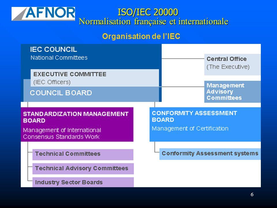 6 ISO/IEC 20000 Normalisation française et internationale Organisation de lIEC