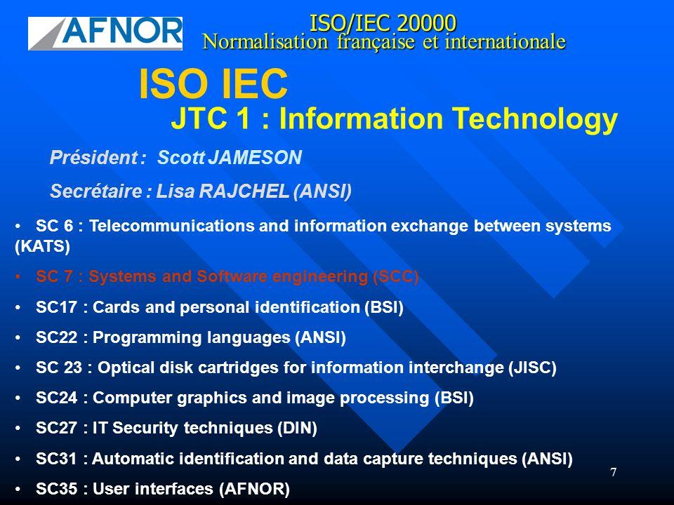 18 BS 15000 a été soumise au JTCI/SC7 de lISO en vue de devenir la norme IS0 20000.