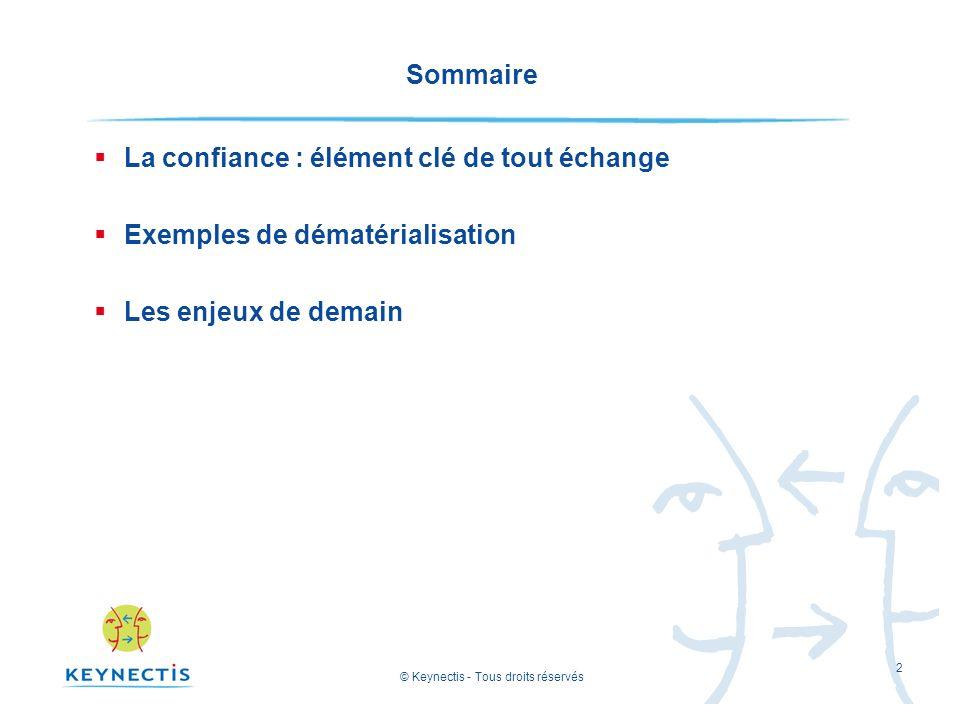 © Keynectis - Tous droits réservés 2 Sommaire La confiance : élément clé de tout échange Exemples de dématérialisation Les enjeux de demain