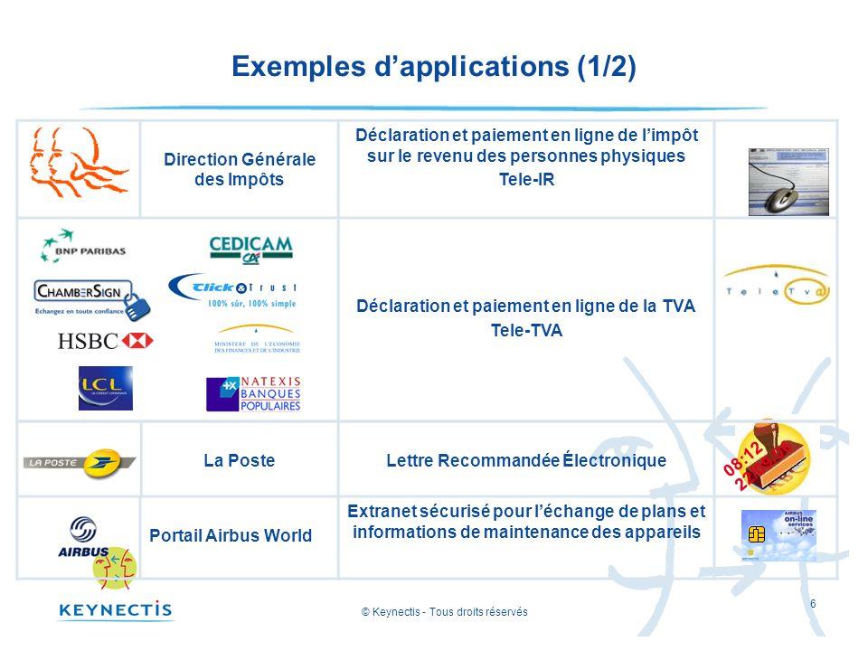 © Keynectis - Tous droits réservés 6 Exemples dapplications (1/2) Direction Générale des Impôts Déclaration et paiement en ligne de limpôt sur le reve