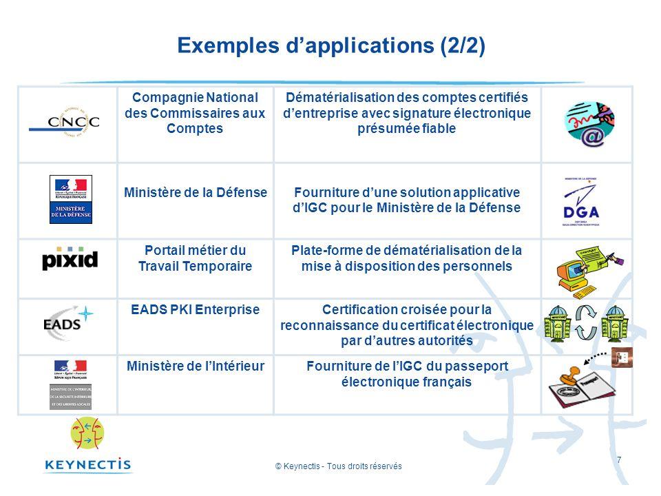 © Keynectis - Tous droits réservés 7 Exemples dapplications (2/2) Compagnie National des Commissaires aux Comptes Dématérialisation des comptes certif