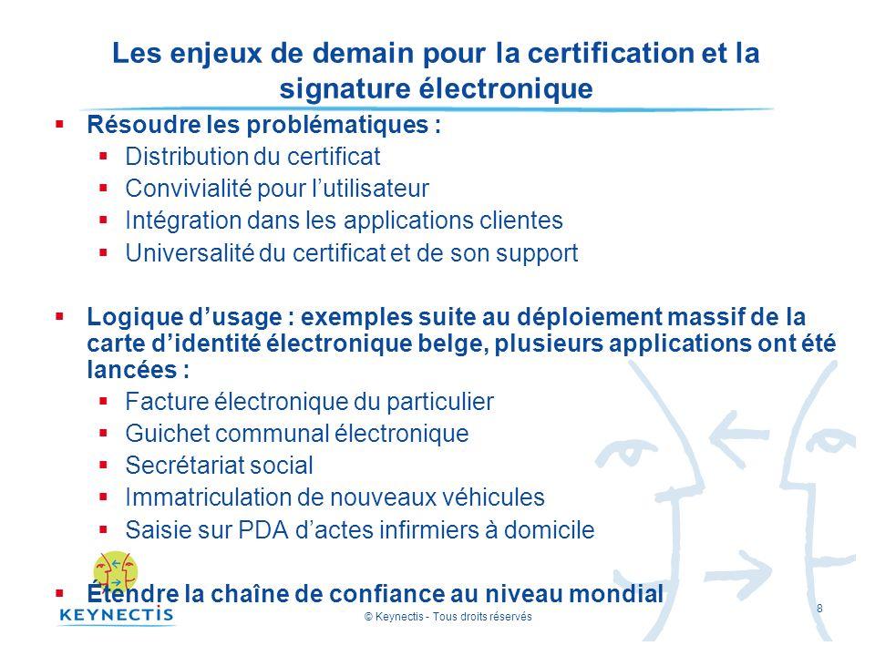 © Keynectis - Tous droits réservés 8 Les enjeux de demain pour la certification et la signature électronique Résoudre les problématiques : Distributio