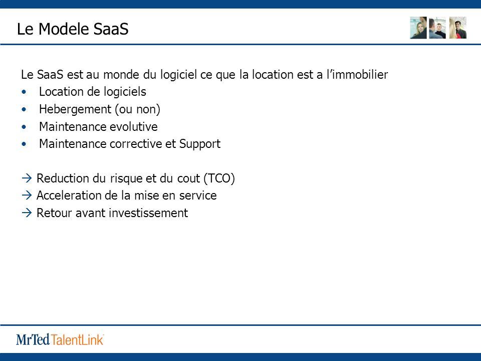 Le Modele SaaS Le SaaS est au monde du logiciel ce que la location est a limmobilier Location de logiciels Hebergement (ou non) Maintenance evolutive Maintenance corrective et Support Reduction du risque et du cout (TCO) Acceleration de la mise en service Retour avant investissement