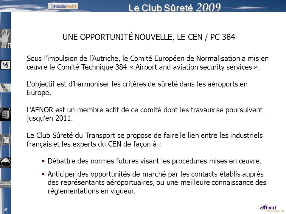 Le Club Sûreté 2009 Sous limpulsion de lAutriche, le Comité Européen de Normalisation a mis en œuvre le Comité Technique 384 « Airport and aviation se