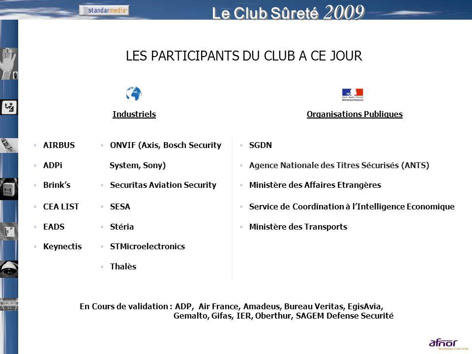 Le Club Sûreté 2009 LES PARTICIPANTS DU CLUB A CE JOUR IndustrielsOrganisations Publiques AIRBUSONVIF (Axis, Bosch SecuritySGDN ADPi System, Sony)Agen
