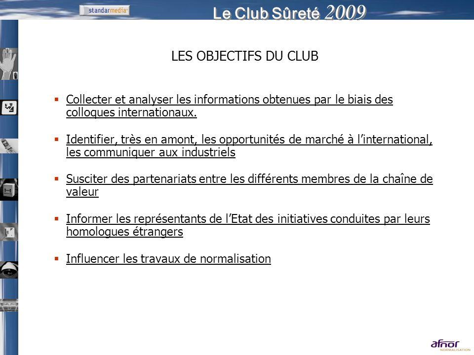 Le Club Sûreté 2009 LES OBJECTIFS DU CLUB Collecter et analyser les informations obtenues par le biais des colloques internationaux. Identifier, très