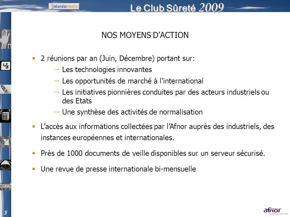 Le Club Sûreté 2009 2 réunions par an (Juin, Décembre) portant sur: Les technologies innovantes Les opportunités de marché à linternational Les initia