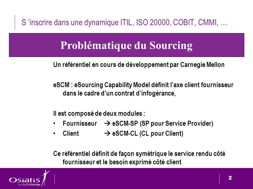2 2 S inscrire dans une dynamique ITIL, ISO 20000, COBIT, CMMI, … Un référentiel en cours de développement par Carnegie Mellon eSCM : eSourcing Capabi