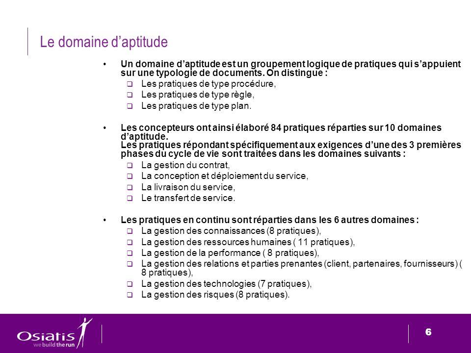 6 6 Le domaine daptitude Un domaine daptitude est un groupement logique de pratiques qui sappuient sur une typologie de documents. On distingue : Les