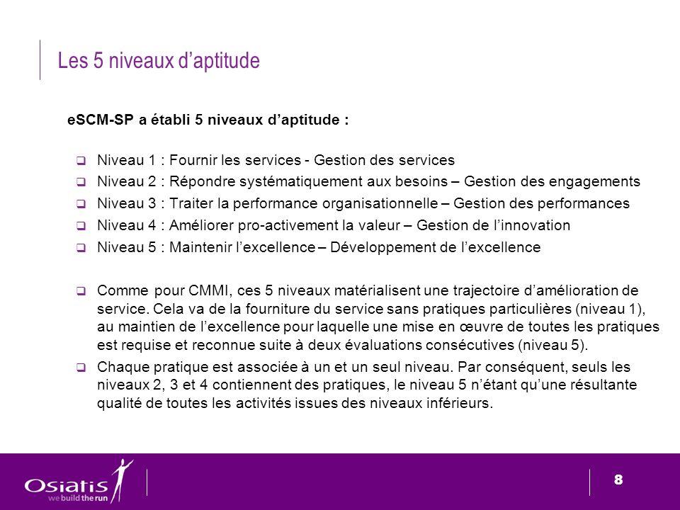8 8 Les 5 niveaux daptitude eSCM-SP a établi 5 niveaux daptitude : Niveau 1 : Fournir les services - Gestion des services Niveau 2 : Répondre systémat