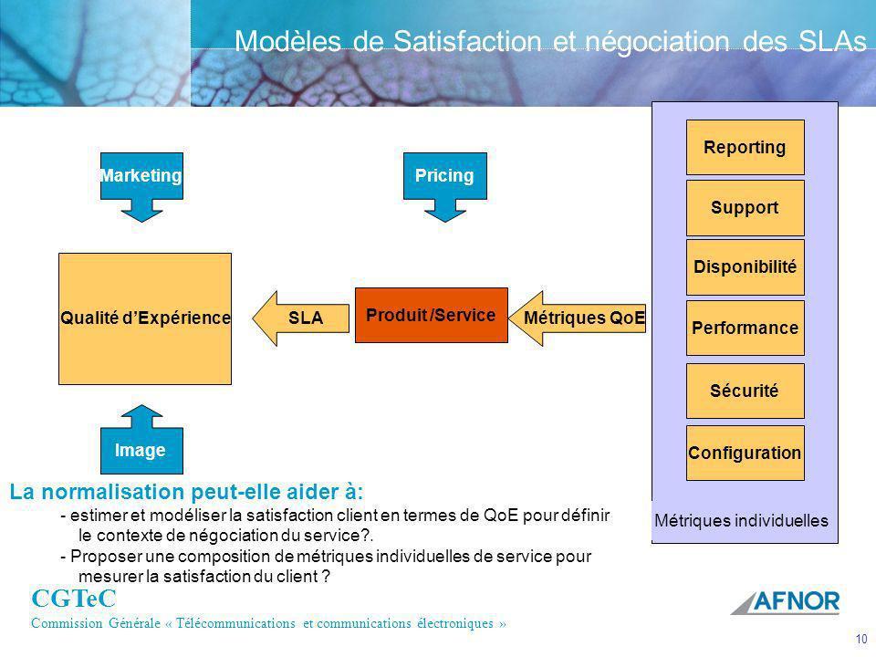 CGTeC Commission Générale « Télécommunications et communications électroniques » 10 Modèles de Satisfaction et négociation des SLAs Marketing Image Qu