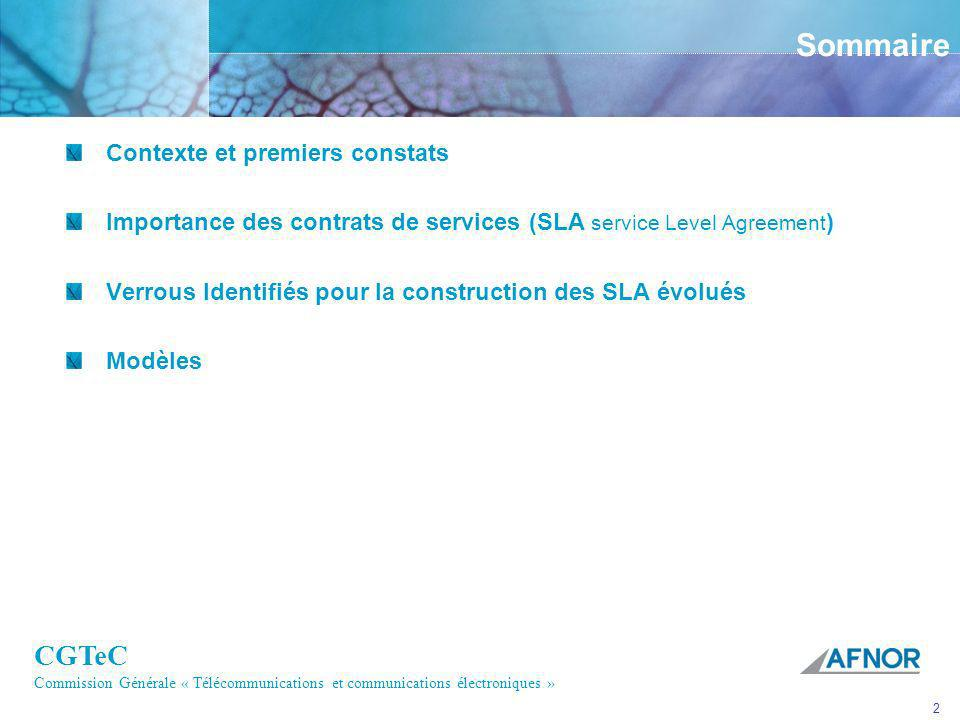 CGTeC Commission Générale « Télécommunications et communications électroniques » 2 Sommaire Contexte et premiers constats Importance des contrats de s